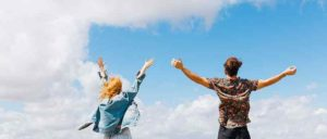 man & woman with hands up 2
