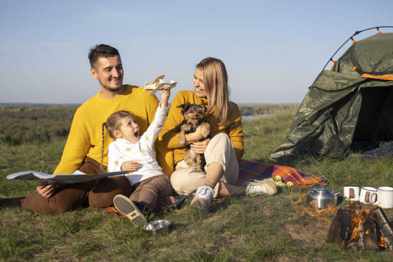 family with child dog spending time together 2